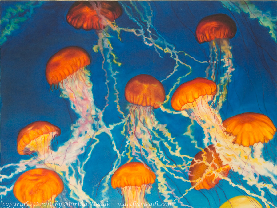 Underwater Waltzes<br/>30 x 40 x 0.75<br/>Oil on canvas<br/>Available, contact me for details