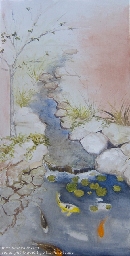 Koi Pond<br/>30 x 15 x 0.75<br/>oil on canvas<br/>SOLD