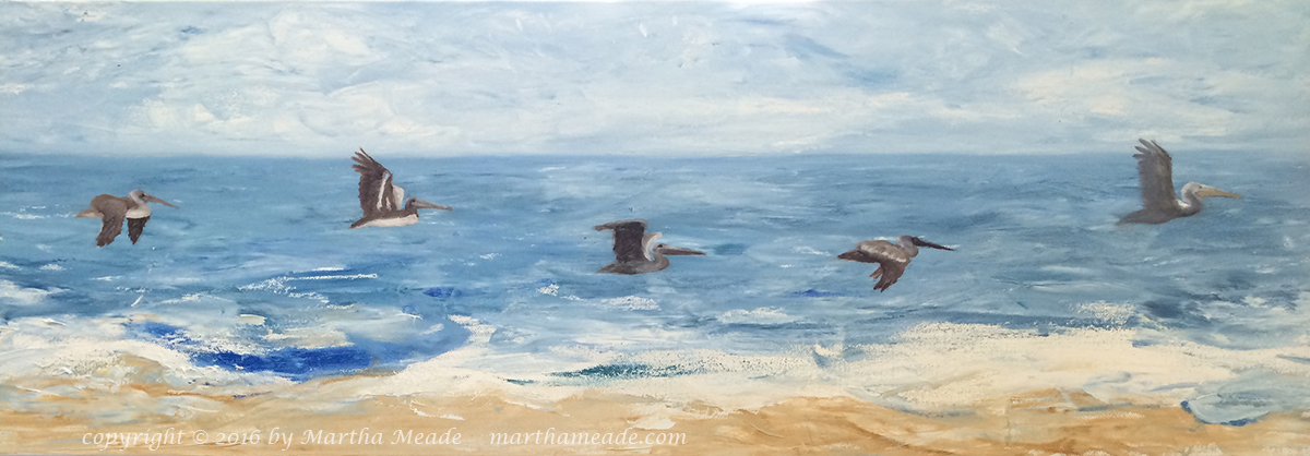 Pteranodons on Parade<br/>12 x 36 x 1.5<br/>oil on canvas<br/>Available, contact me for details
